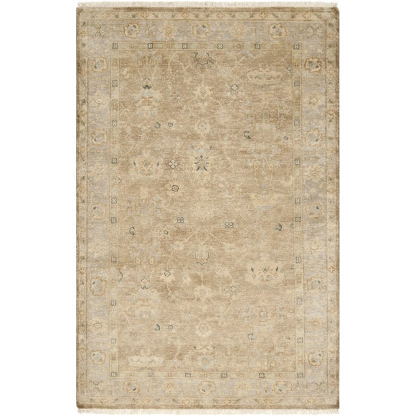 Hand-crafted Beige Wool Oriental Area Rug (5'6 x 8'6)