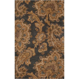 Hand-tufted Grey Floral New Zealand Wool Rug (2' x 3')