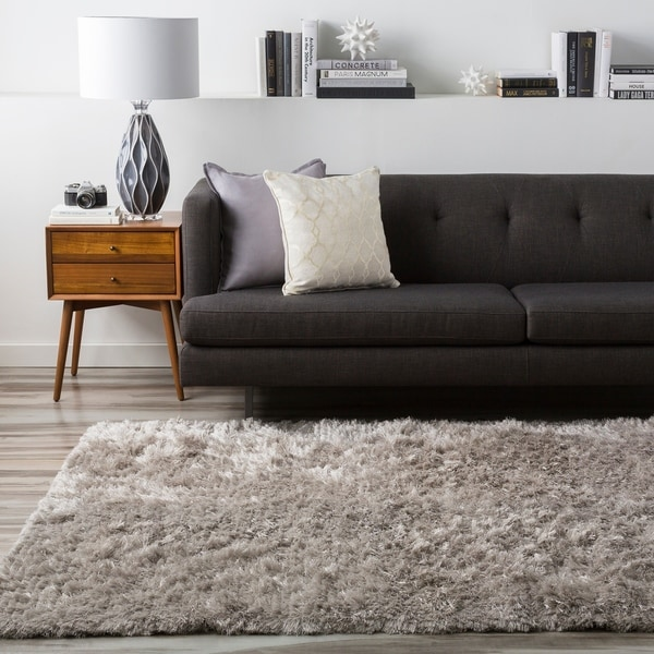Hand-woven Chanhassen Grey Shag Area Rug - 5' x 8'