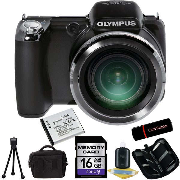Olympus SP-810UZ 14MP Black Digital Camera 16GB Bundle
