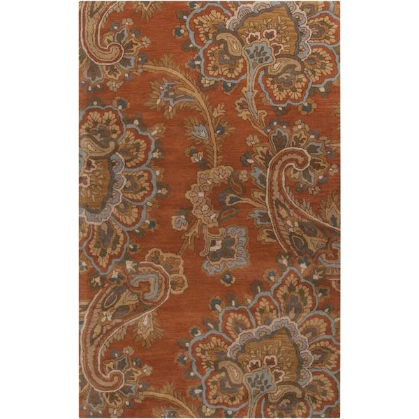 Hand-tufted Arauca Orange Wool Area Rug (9' x 13') - 9' x 13'