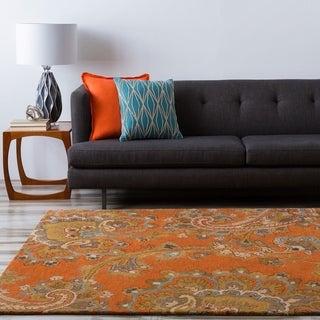 Hand-tufted Arauca Orange Wool Rug (9' x 13')