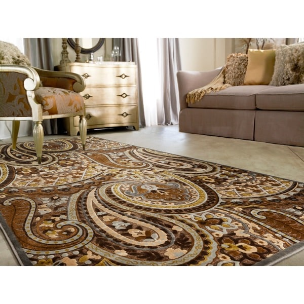 Axel Floral Paisley Brown Area Rug - 7'6 x 10'6