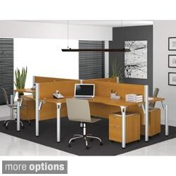 Bestar Pro-Biz Four-Person L-Desk Melamine/Acrylic Workstation