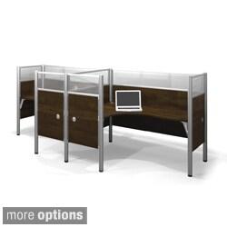 Bestar Pro-Biz Acrylic/Melamine Double Side-by-Side L-Desk Workstation
