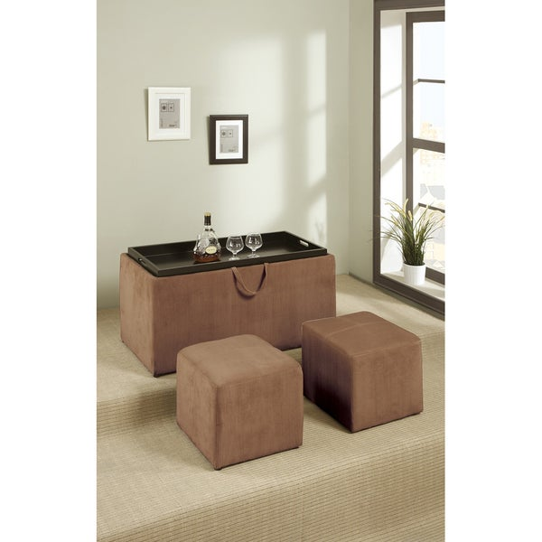 Dillard Tan Butter 3-piece Cocktail Ottoman Set
