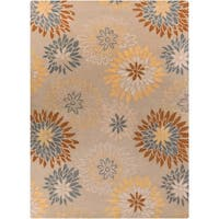 Hand-tufted Contemporary Missoula Beige Floral Wool Area Rug - 8' x 11'