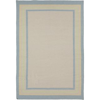 Hand-woven Causal Froid Bordered Beige Wool Rug (8' x 11')