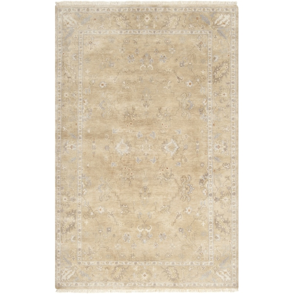 Hand-crafted Shakopee Traditional Ivory Wool Oriental Area Rug (8'6 x 11'6)