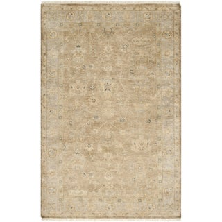 Hand-crafted Minnetrista Traditional Beige Wool Rug (9' x 13')