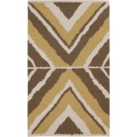 Hand-woven Addo Reversible Dark Taupe Wool Area Rug - 5' x 8'