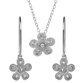 Journee Collection Sterling Silver Cubic Zirconia Flower Jewelry Set