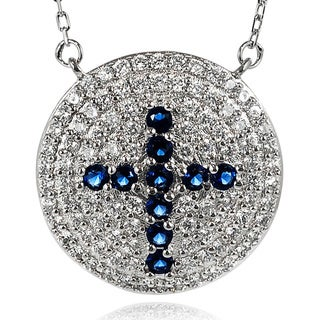 Journee Collection Sterling Silver Cubic Zirconia Pave Cross Necklace