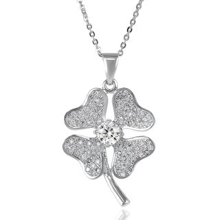 Journee Collection Sterling Silver Cubic Zirconia Clover Necklace