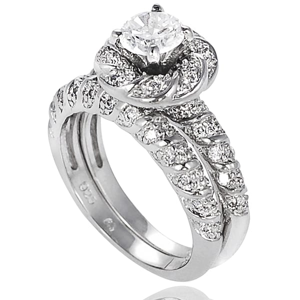 Journee Collection Sterling Silver Cubic Zirconia Flower Bridal-style Ring Set