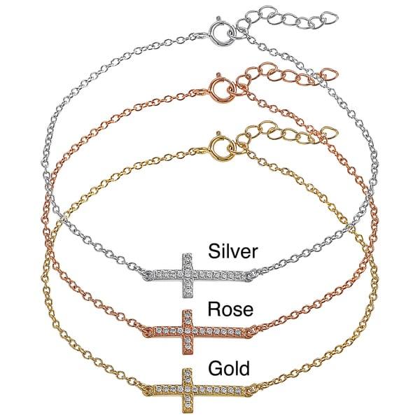 Journee Collection Sterling Silver Cubic Zirconia Sideways Cross Bracelet