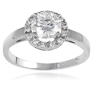 Journee Collection Sterling Silver Multifaceted Cubic Zirconia Bridal-style Ring