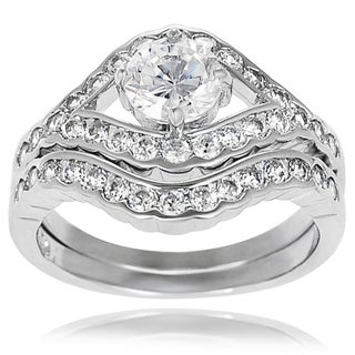Journee Collection Sterling Silver Round Cubic Zirconia Bridal-style Ring Set
