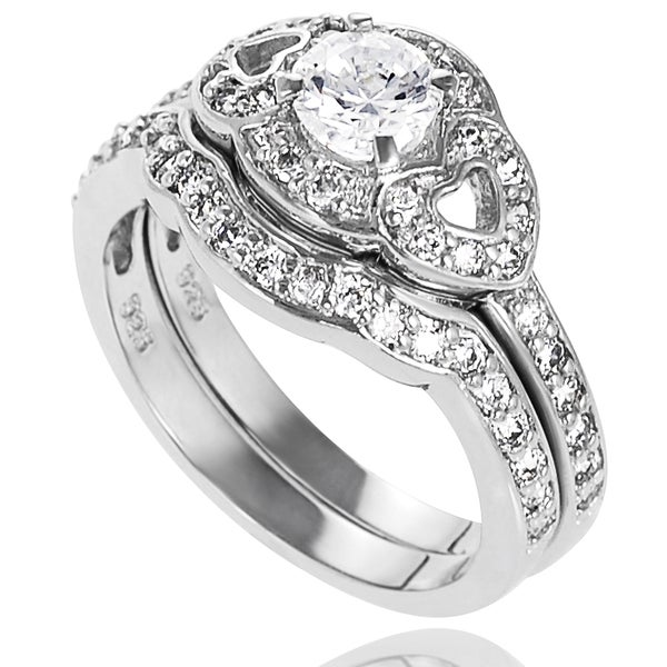 Journee Collection Sterling Silver Round-cut Cubic Zirconia Bridal-style 2-piece Ring Set