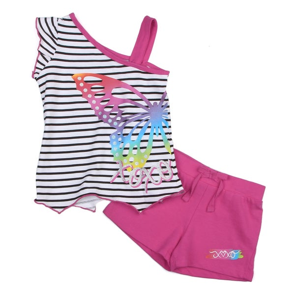 XOXO Girl's Stripes Shirt and Pink Short Set