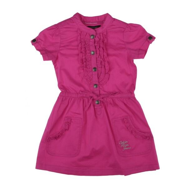 Calvin Klein Girls Button Front Dress in Hot Pink