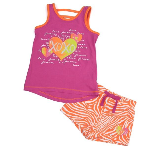 XOXO Girl's Pink Tank and Orange Zebra Short Set