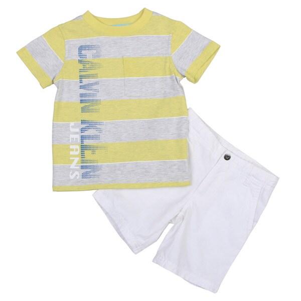 Calvin Klein Toddler Boy's Yellow CK Tee and White Short Set