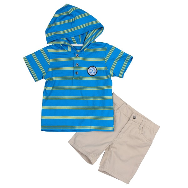 Calvin Klein Toddler Boy's Blue Striped Shirt and Short Set