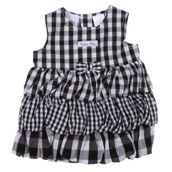 Calvin Klein Newborn Girls Check Dress with Bottoms Set in Black/ White
