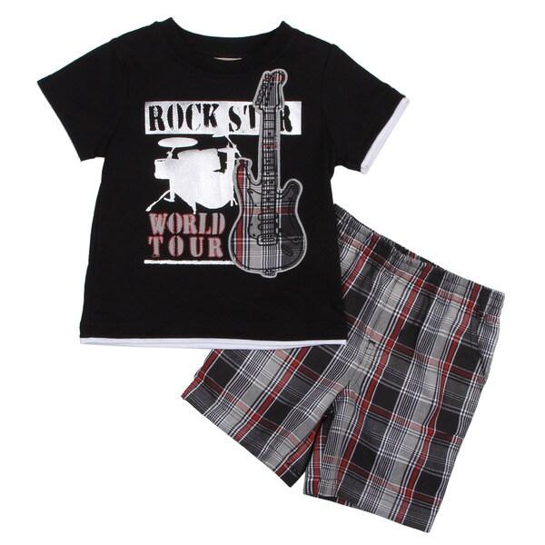 KHQ Toddler Boy's Black Shirt and Plaid Short Set