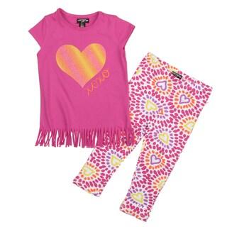 XOXO Girl's Prink Fringe Top and Legging Set