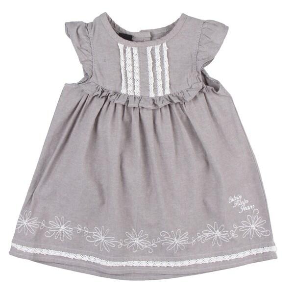Calvin Klein Toddler Girl's Ruffle Sleeve Light Grey Dress