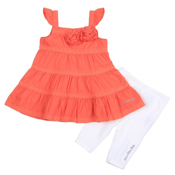 Calvin Klein Infant Girl's Orange Tiered Top with White Bottom Set