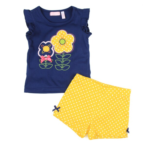 KHQ Girl's Navy Top with Yellow Shorts Set