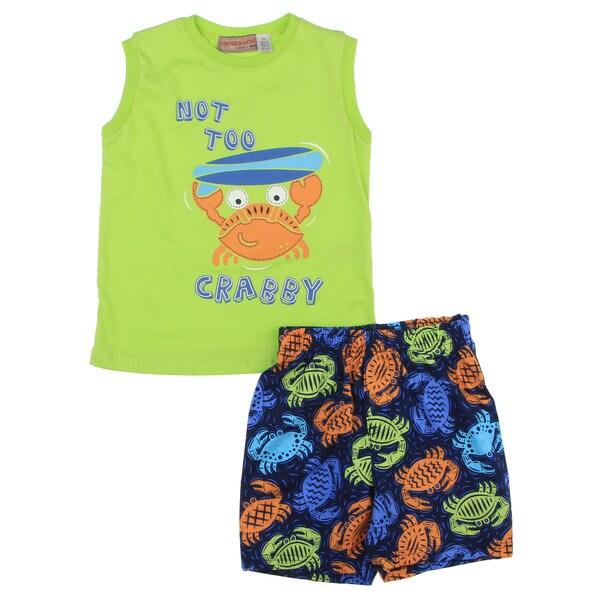 Infant Boys Green Top/ Printed Crab Short Set
