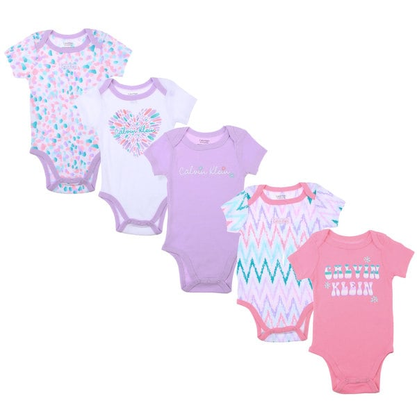 Calvin Klein Newborn Girls Printed Bodysuit Set in Pink/Purple/White