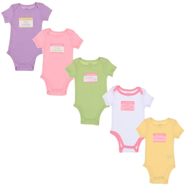 Calvin Klein Newborn Girls Printed Bodysuits Set in Pink/ Purple/ Yellow/ Green/ White (Set of 5)