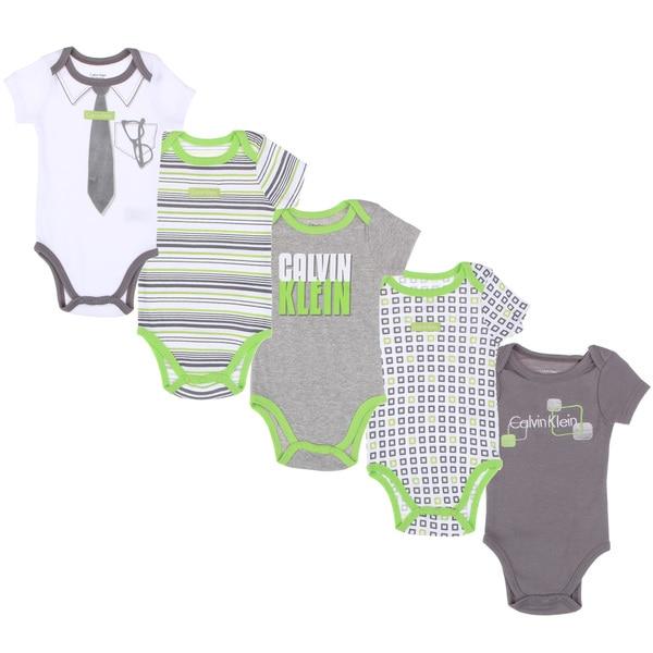Calvin Klein Newborn Boys Printed Bodysuits Set in Light Green/ White/ Grey (Pack of 5)