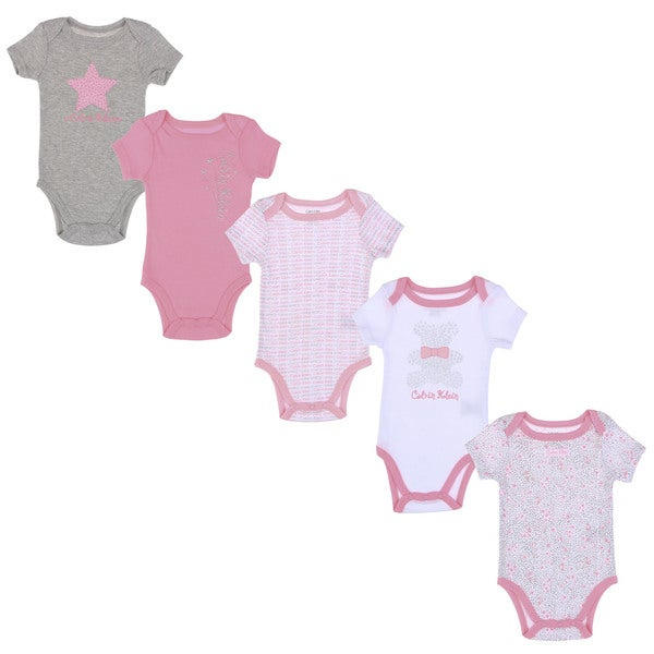 Calvin Klein Newborn Girls Printed Bodysuits Set in Pink/ White/ Grey (Set of 5)