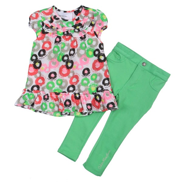 Calvin Klein Toddler Girl's Ruffle Flower Top with Dark Green Pants Set