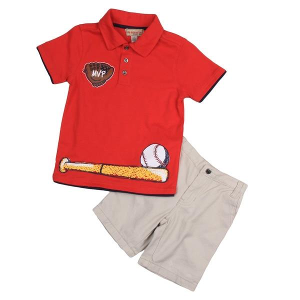 KHQ Boy's Red Polo Shirt and Short Set