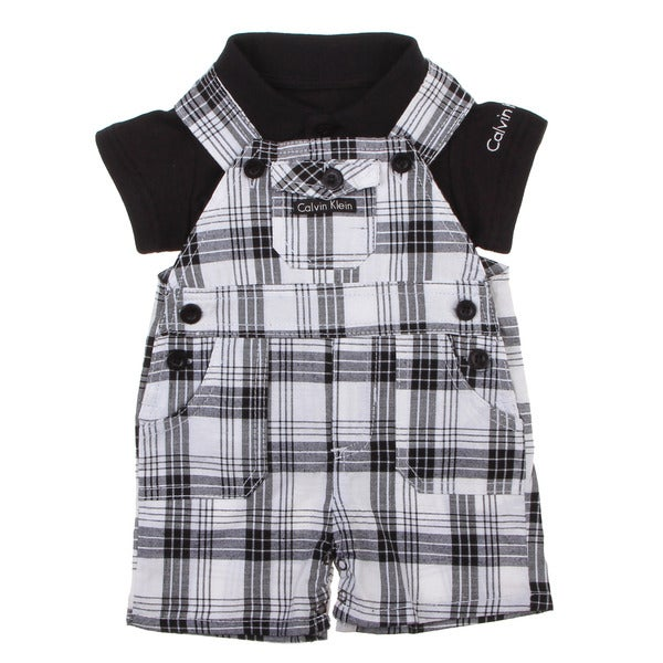 Calvin Klein Newborn Boys Black Polo with Black/ White Plaid Overalls Set