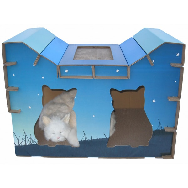 Go Pet Club-House-Style Night Sky Cat-Scratch Board