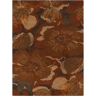 Hand-tufted Transitional Millings Brown Floral Wool Rug (7'6 x 9'6)