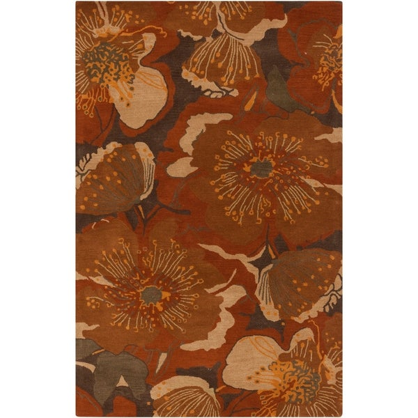 "Hand-tufted Transitional Millings Brown Floral Wool Area Rug - 7'6"" x 9'6"""