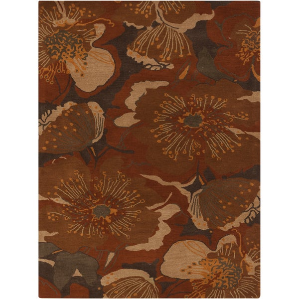 Hand-tufted Transitional Millings Brown Floral Wool Area Rug (7'6 x 9'6)