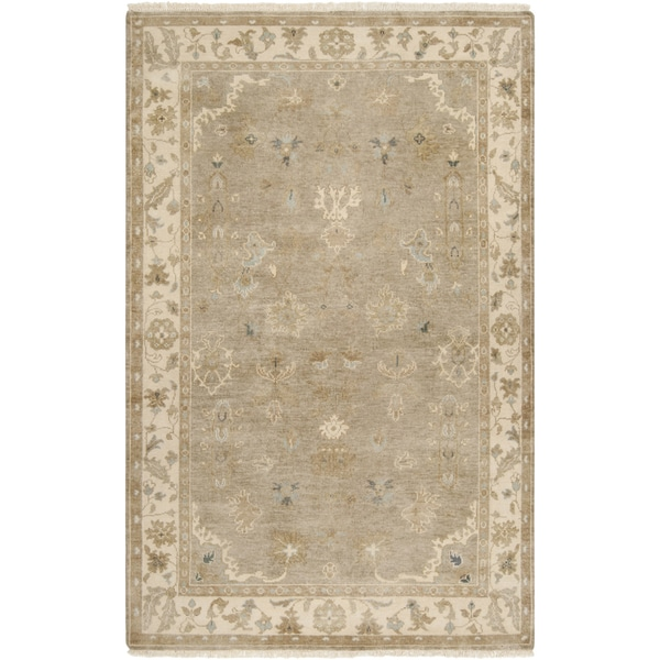 Hand-crafted Mankato Traditional Oriental Beige Wool Area Rug - 5'6 x 8'6
