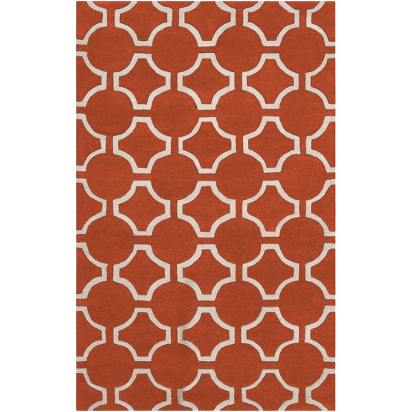 Hand-tufted Otsego Orange Geometric Trellis Wool Area Rug - 2' x 3'