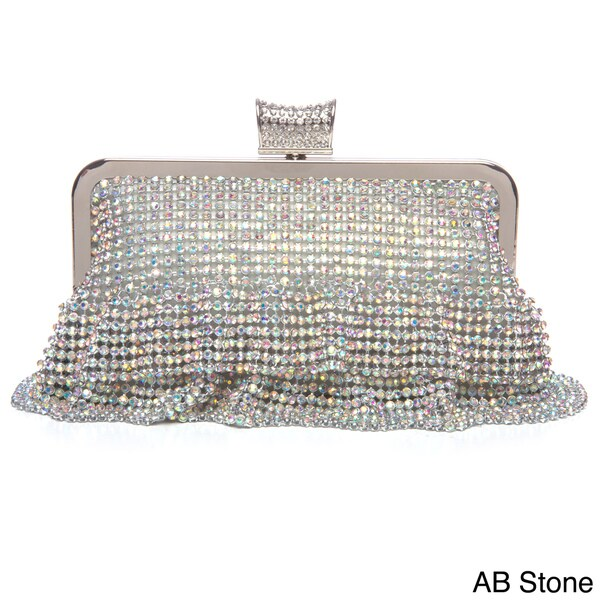 Women's Crystal Embellished Ruffled Evening Bag