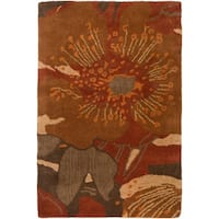 Hand-tufted Transitional Millings Brown Wool Area Rug - 2' x 3'